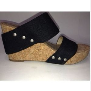 Lucky Cork Wedge Black 6.5